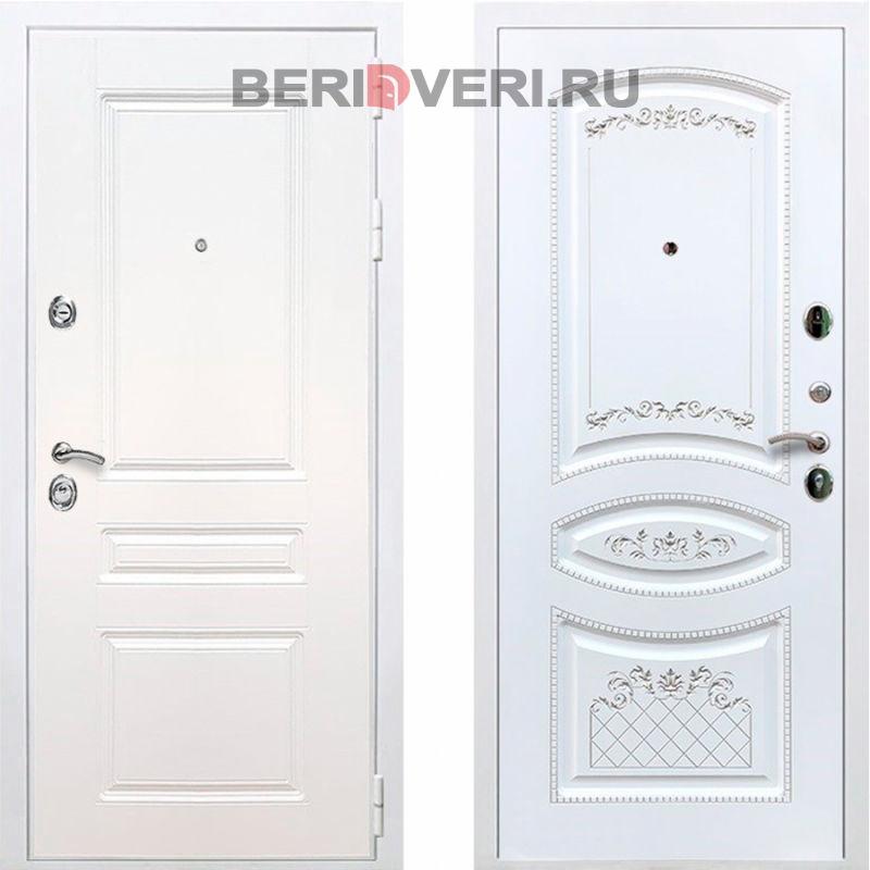 Металлическая дверь REX Премиум H ФЛ-316 Белый / Белый патина серебро