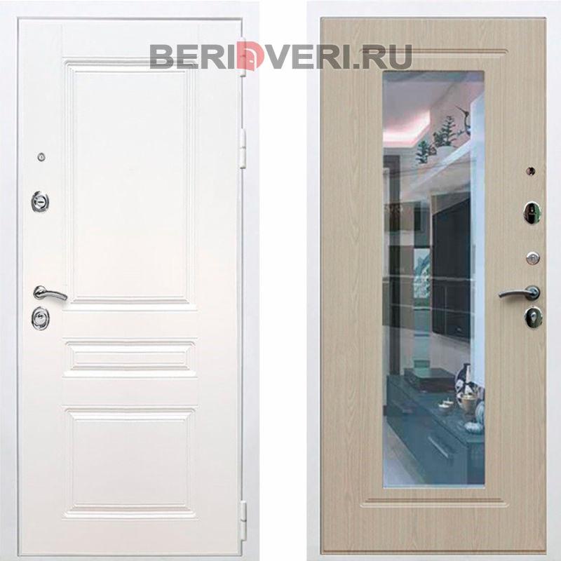 Металлическая дверь REX Премиум H Зеркало Белый / Беленый дуб