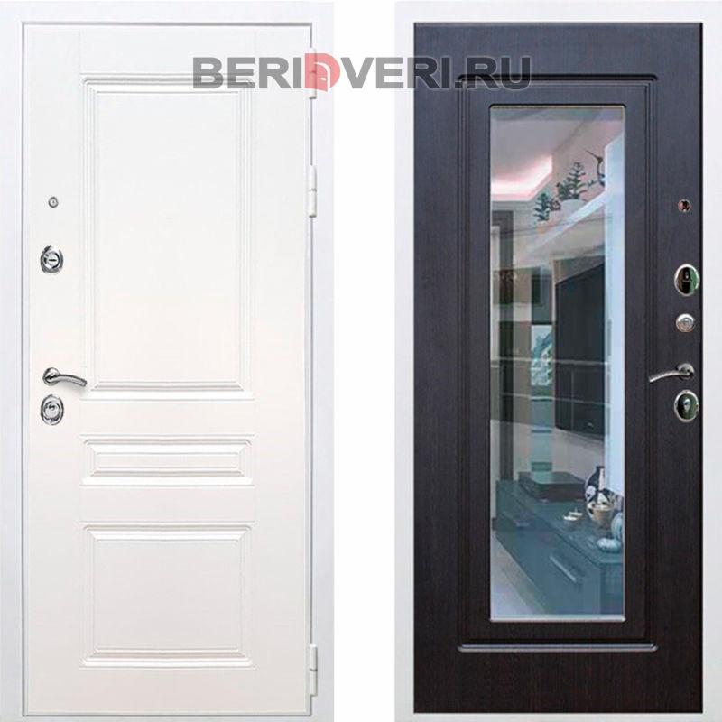 Металлическая дверь REX Премиум H Зеркало Белый / Венге