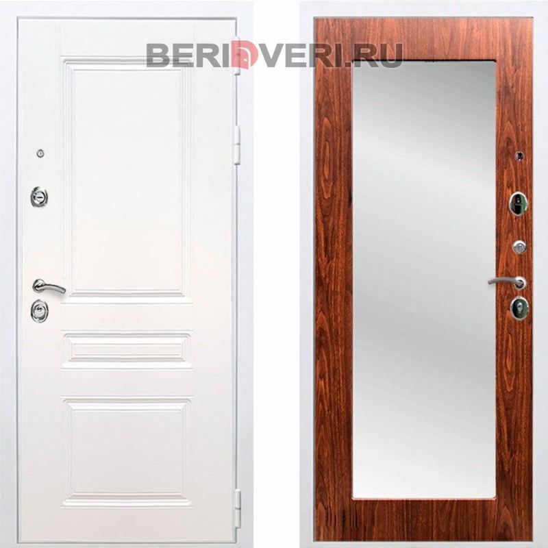 Металлическая дверь REX Премиум H Зеркало Пастораль Белый / Береза мореная