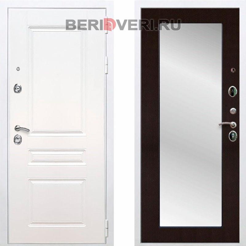 Металлическая дверь REX Премиум H Зеркало Пастораль Белый / Венге