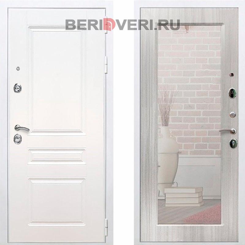 Металлическая дверь REX Премиум H Зеркало Пастораль Белый / Сандал белый
