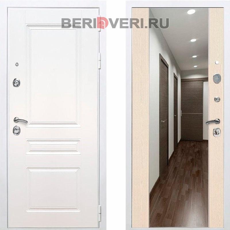 Металлическая дверь REX Премиум H Зеркало СБ-16 Белый / Лиственница беж