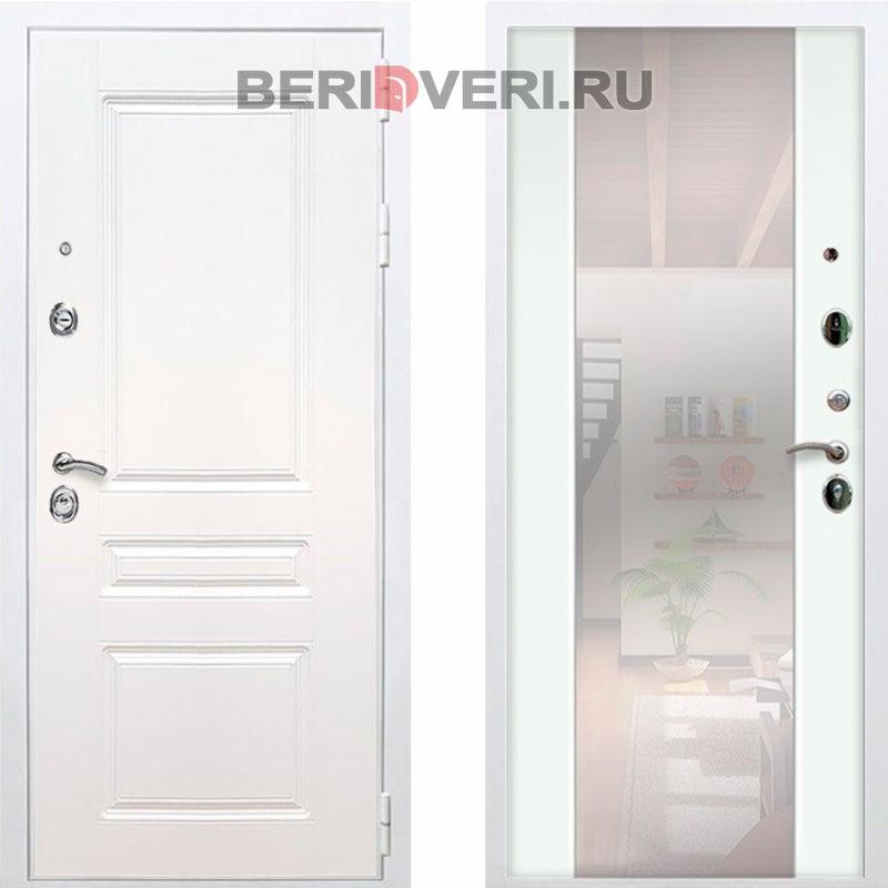 Металлическая дверь REX Премиум H Зеркало СБ-16 Белый / Белый матовый