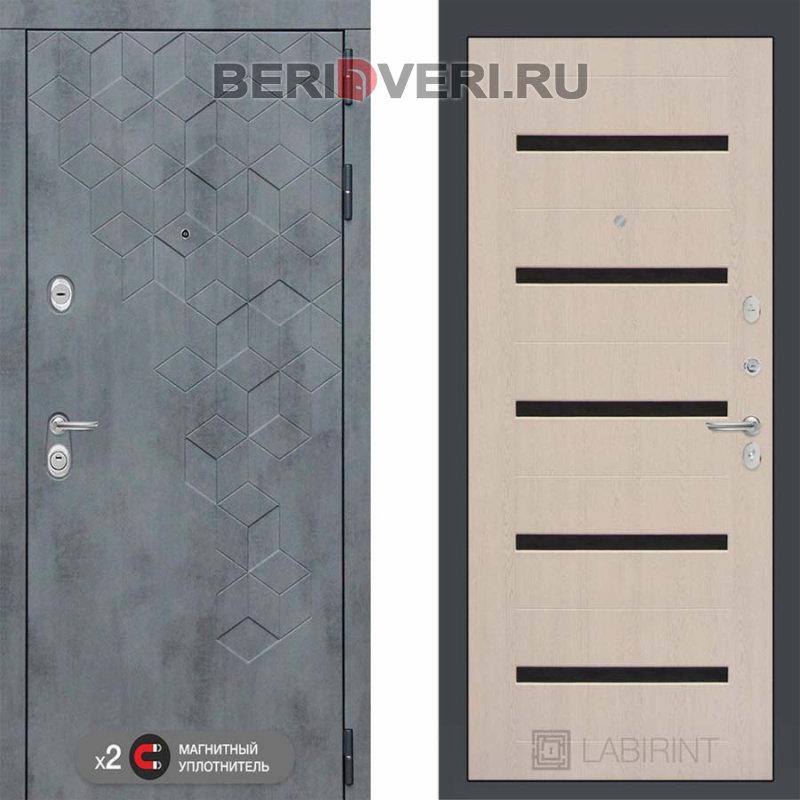 Металлическая дверь Лабиринт Бетон 01 Беленый дуб, стекло черное