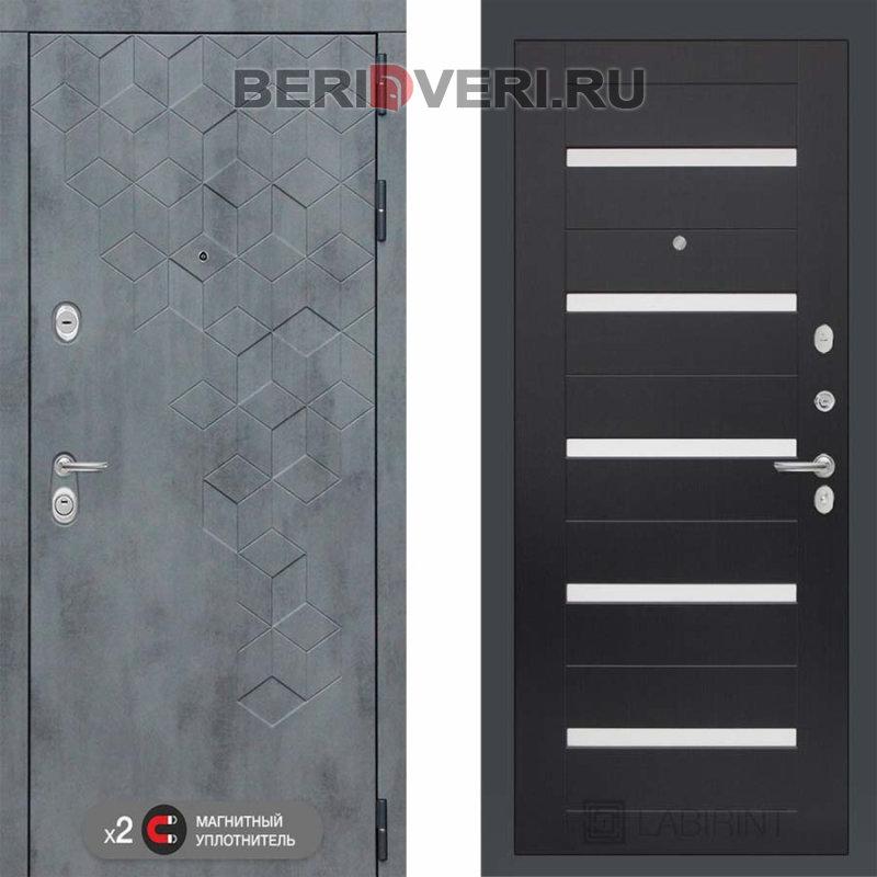Металлическая дверь Лабиринт Бетон 01 Венге, стекло белое
