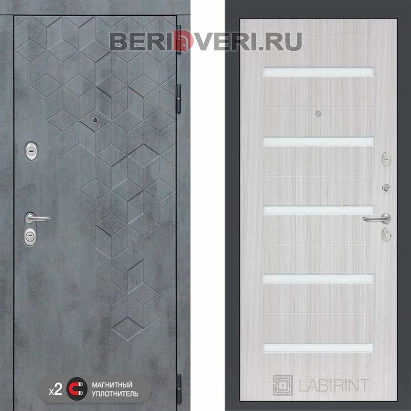 Металлическая дверь Лабиринт Бетон 01 Сандал белый, стекло белое