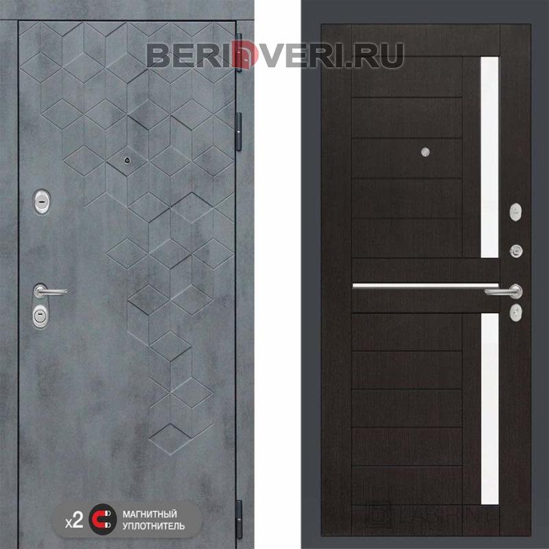 Металлическая дверь Лабиринт Бетон 02 Венге, стекло белое