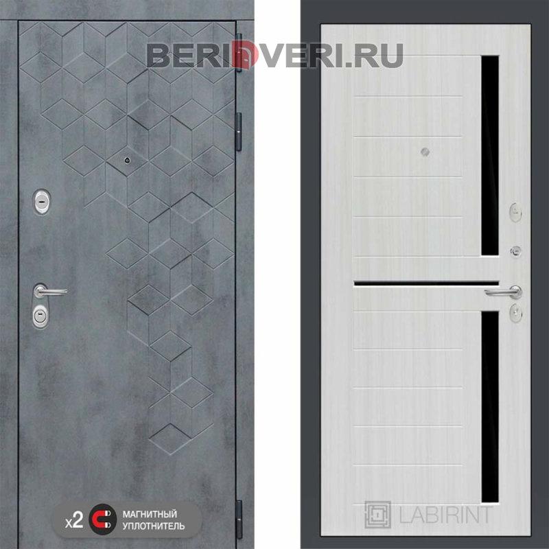 Металлическая дверь Лабиринт Бетон 02 Сандал белый, стекло черное