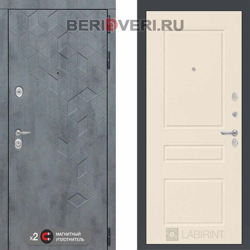 Металлическая дверь Лабиринт Бетон 03 Крем софт