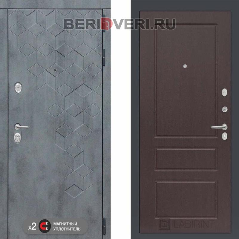 Металлическая дверь Лабиринт Бетон 03 Орех премиум