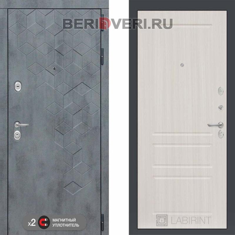 Металлическая дверь Лабиринт Бетон 03 Сандал белый