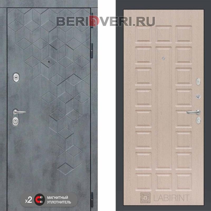 Металлическая дверь Лабиринт Бетон 04 Беленый дуб