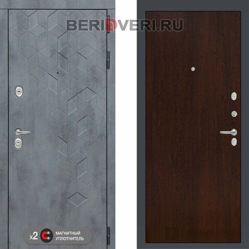 Металлическая дверь Лабиринт Бетон 05 Венге