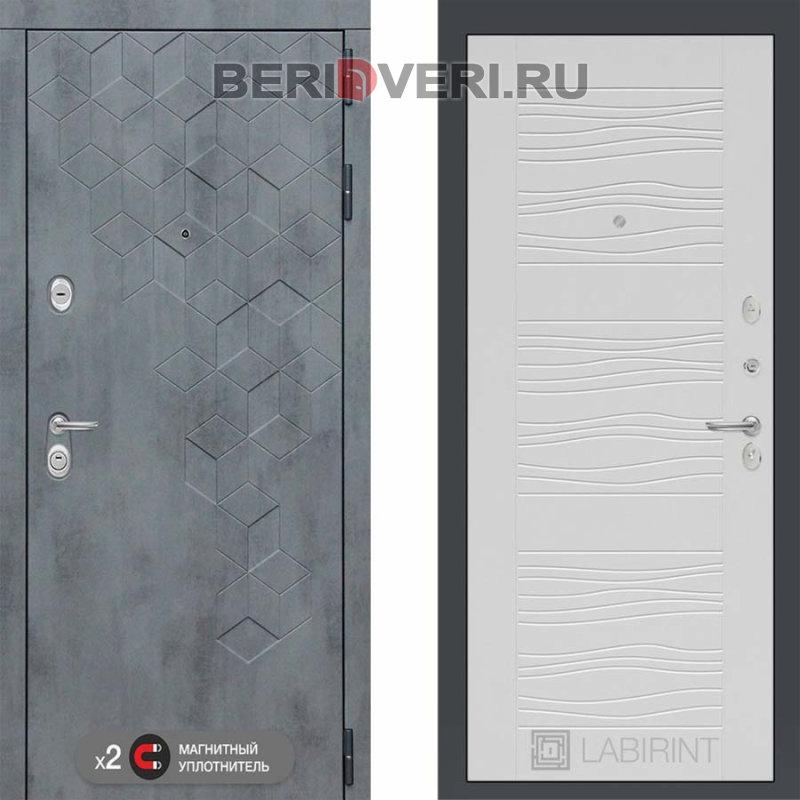 Металлическая дверь Лабиринт Бетон 06 Белое дерево