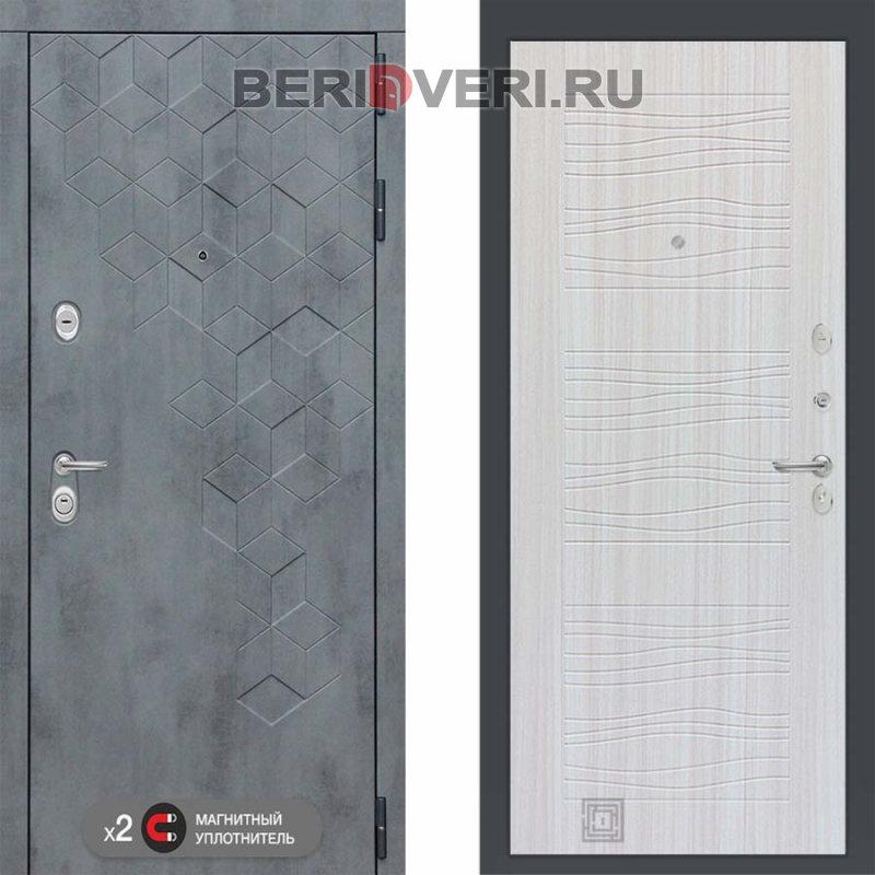 Металлическая дверь Лабиринт Бетон 06 Сандал белый
