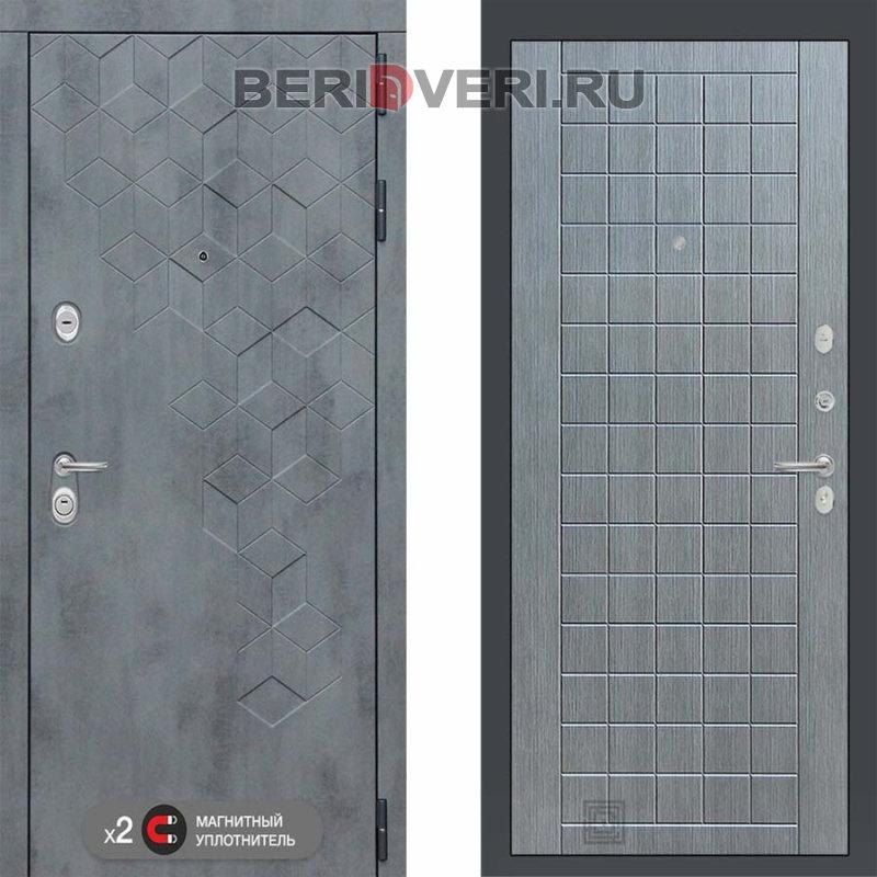 Металлическая дверь Лабиринт Бетон 09 Лен сильвер грэй