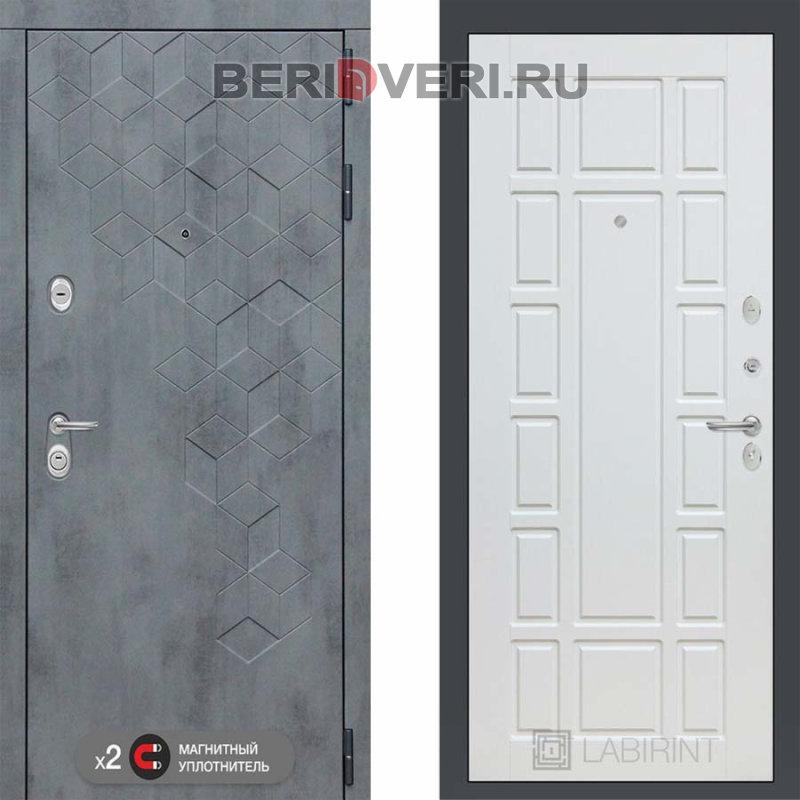 Металлическая дверь Лабиринт Бетон 12 Белое дерево