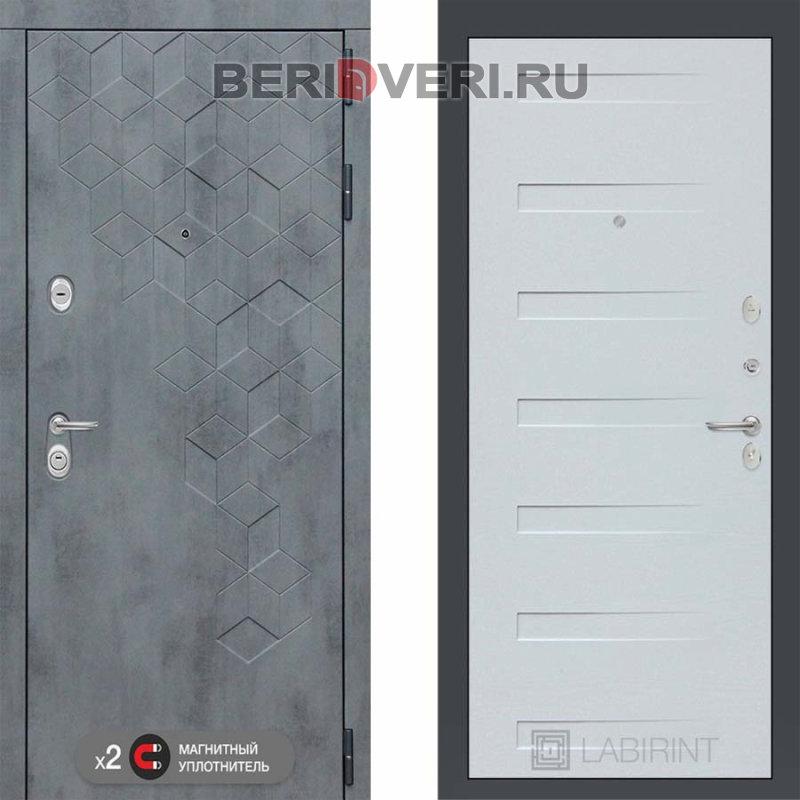 Металлическая дверь Лабиринт Бетон 14 Дуб кантри белый горизонтальный