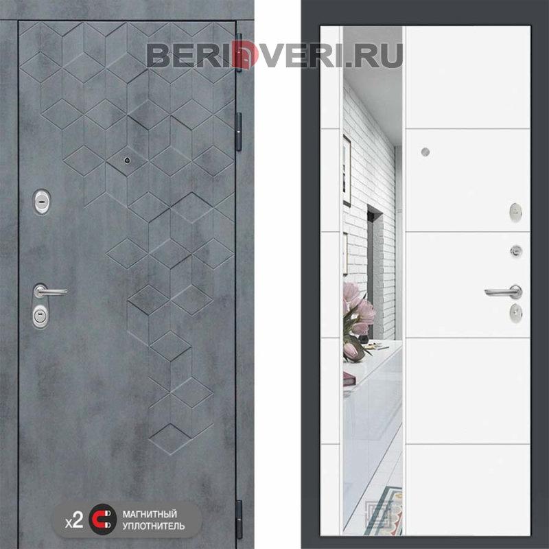 Металлическая дверь Лабиринт Бетон 19 Зеркало Белый софт