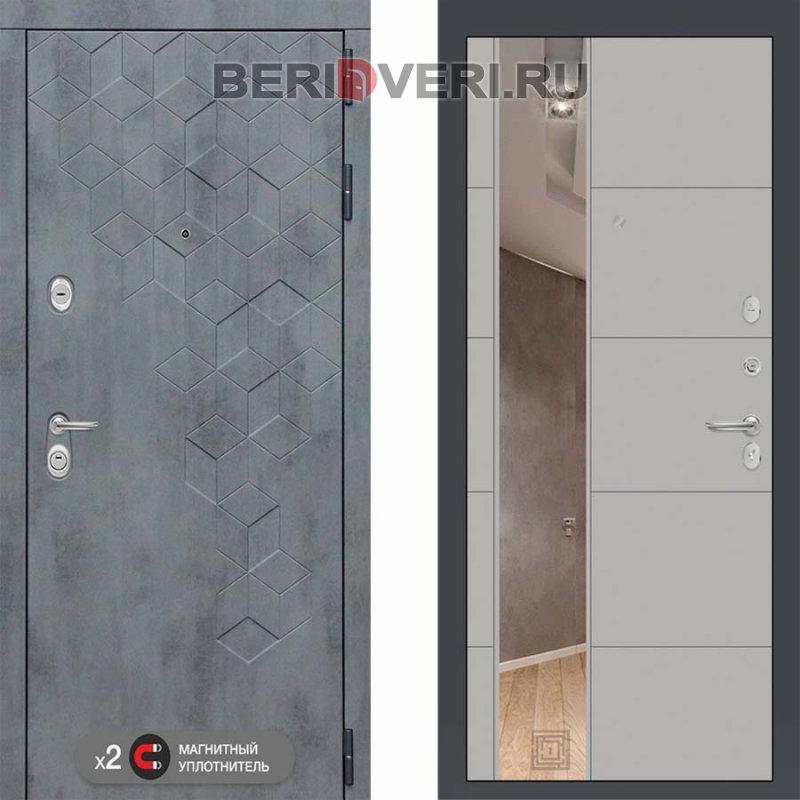 Металлическая дверь Лабиринт Бетон 19 Зеркало Грэй софт