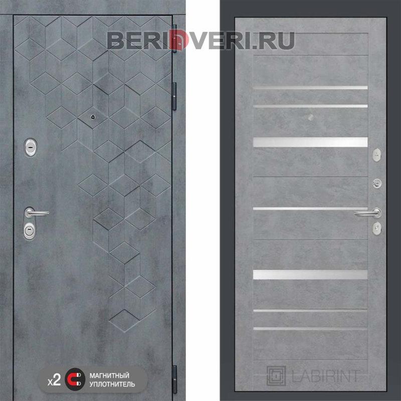 Металлическая дверь Лабиринт Бетон 20 Бетон светлый с зеркальными вставками