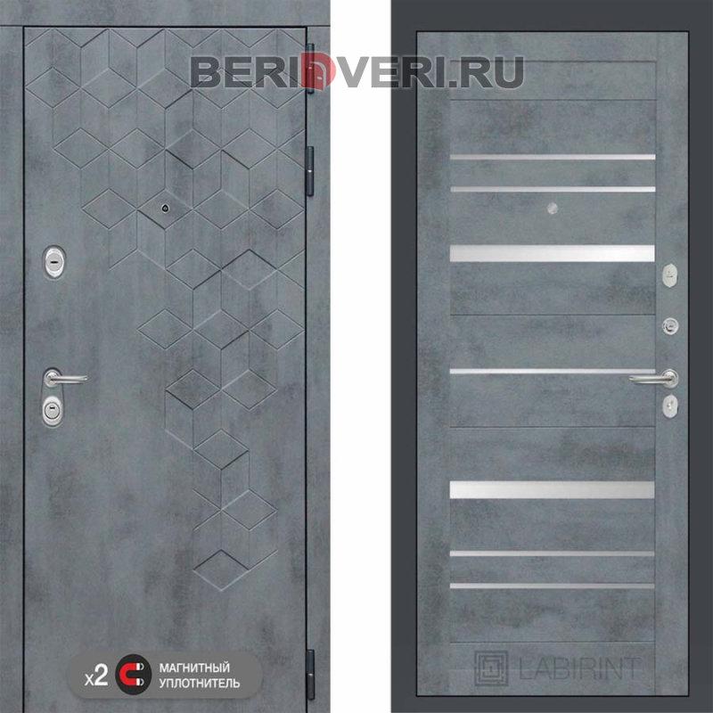 Металлическая дверь Лабиринт Бетон 20 Бетон темный с зеркальными вставками