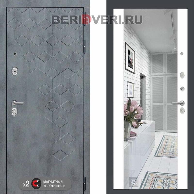 Металлическая дверь Лабиринт Бетон Зеркало Максимум Белый софт
