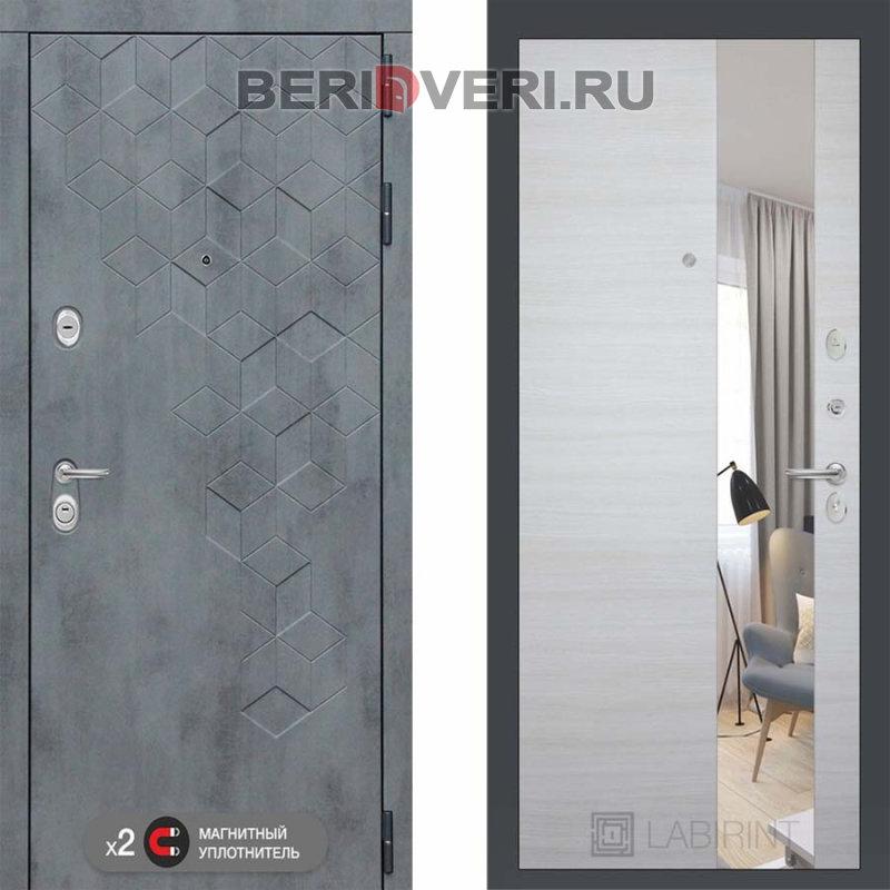 Металлическая дверь Лабиринт Бетон с узким Зеркалом Акация светлая горизонтальная