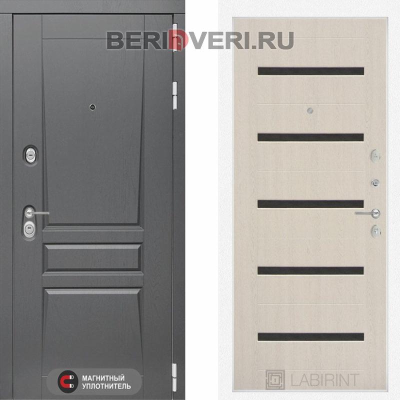 Металлическая дверь Лабиринт Платинум 01 Беленый дуб, стекло черное