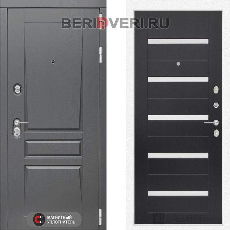 Металлическая дверь Лабиринт Платинум 01 Венге, стекло белое