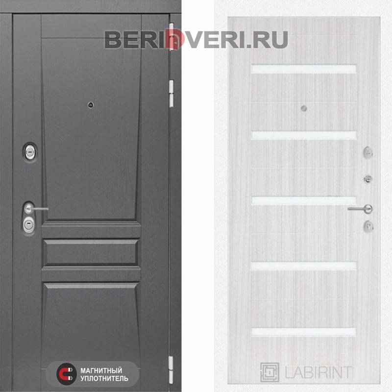 Металлическая дверь Лабиринт Платинум 01 Сандал белый, стекло белое
