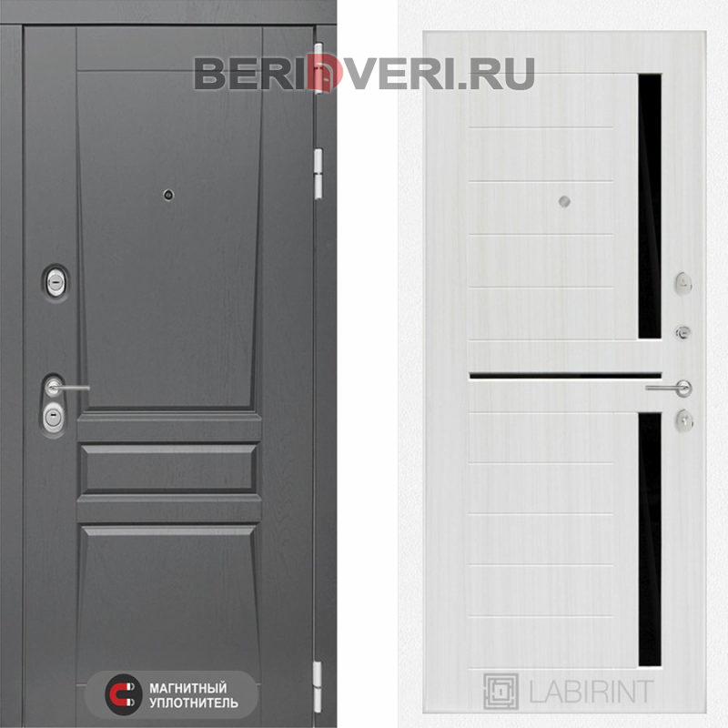 Металлическая дверь Лабиринт Платинум 02 Сандал белый, стекло черное