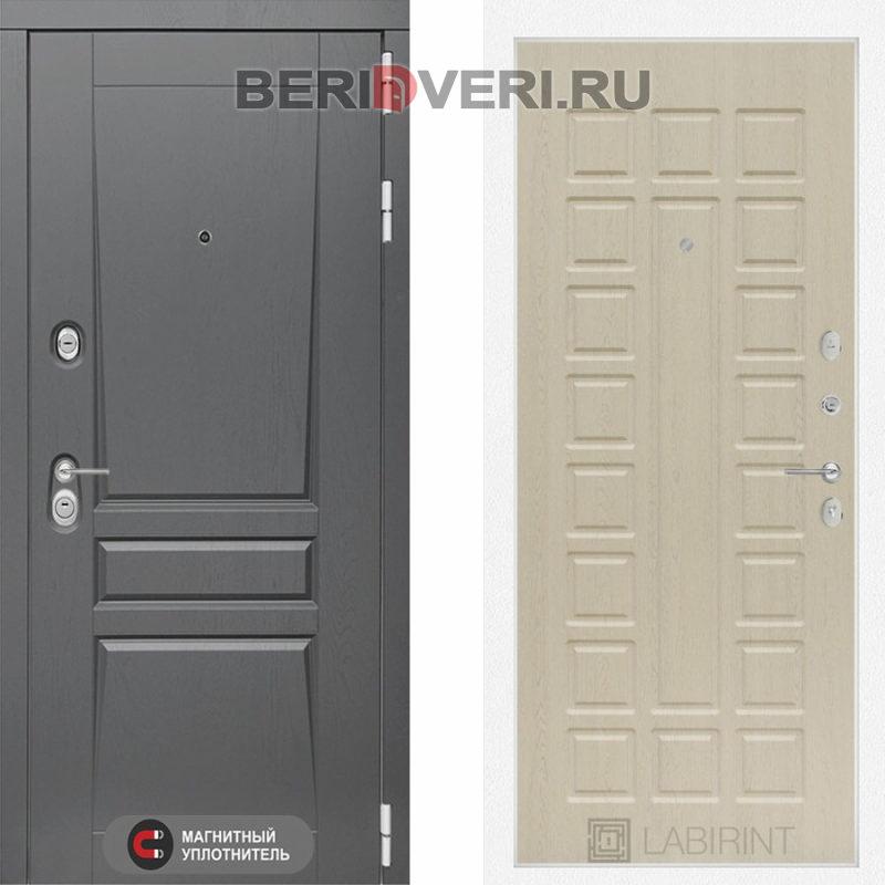 Металлическая дверь Лабиринт Платинум 04 Беленый дуб