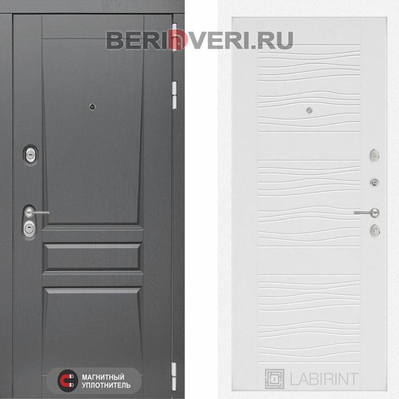 Металлическая дверь Лабиринт Платинум 06 Белое дерево