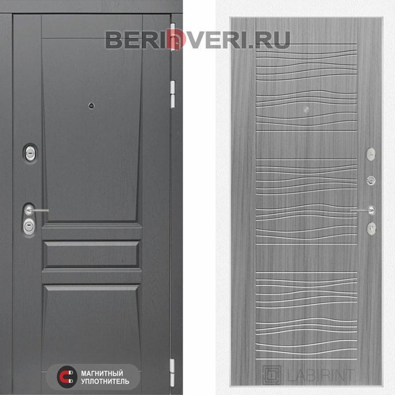 Металлическая дверь Лабиринт Платинум 06 Сандал серый