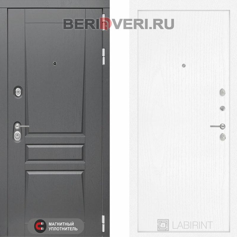 Металлическая дверь Лабиринт Платинум 07 Белое дерево