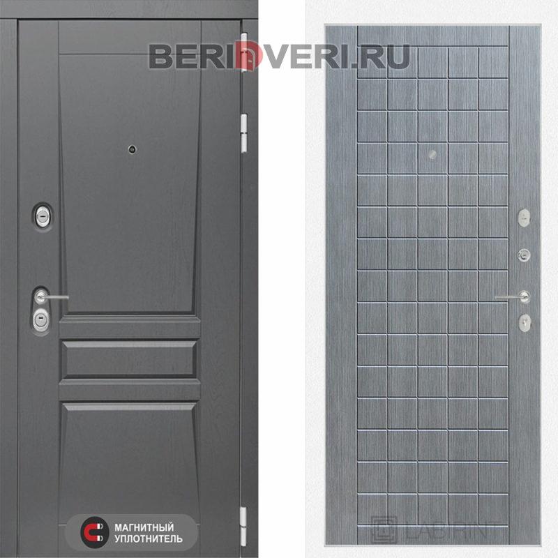 Металлическая дверь Лабиринт Платинум 09 Лен сильвер грэй