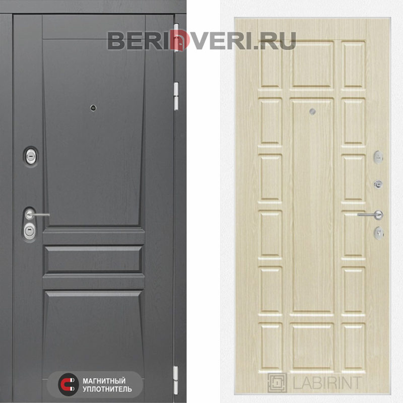 Металлическая дверь Лабиринт Платинум 12 Беленый дуб
