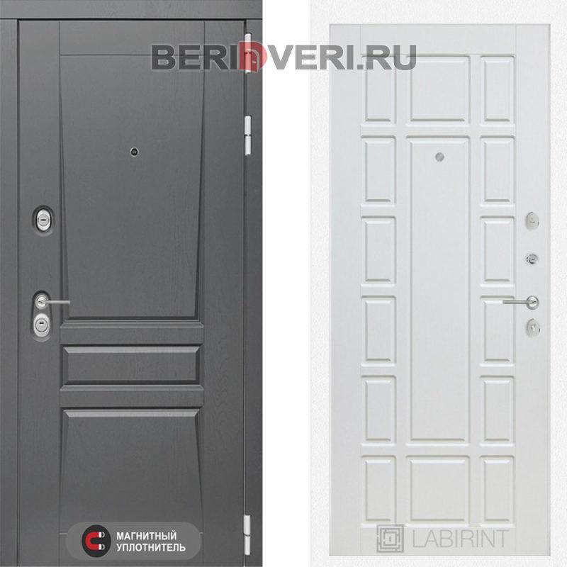 Металлическая дверь Лабиринт Платинум 12 Белое дерево