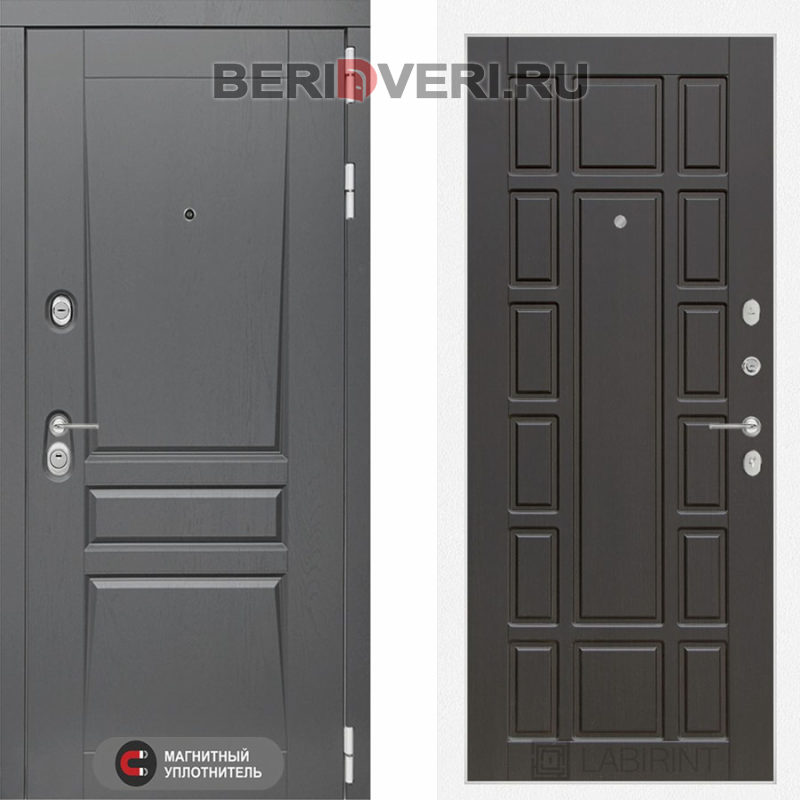 Металлическая дверь Лабиринт Платинум 12 Венге