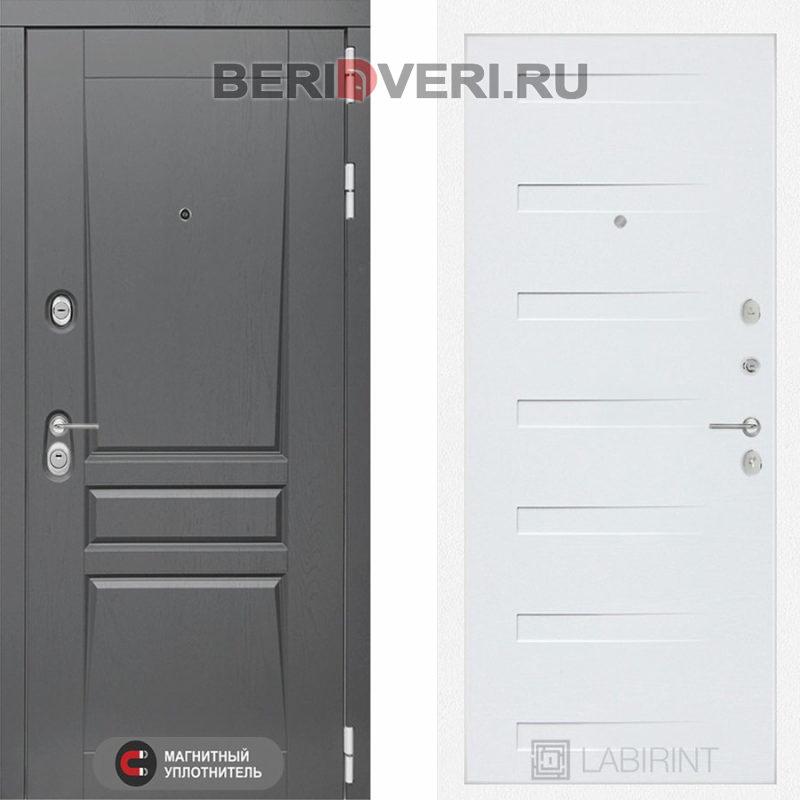 Металлическая дверь Лабиринт Платинум 14 Дуб кантри белый горизонтальный
