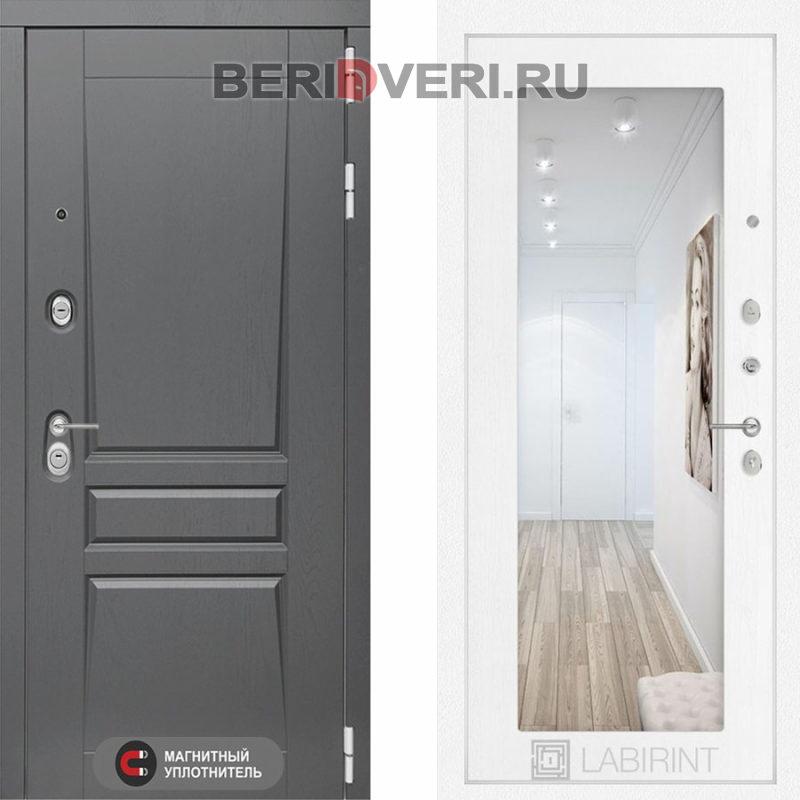Металлическая дверь Лабиринт Платинум 18 Зеркало Белое дерево