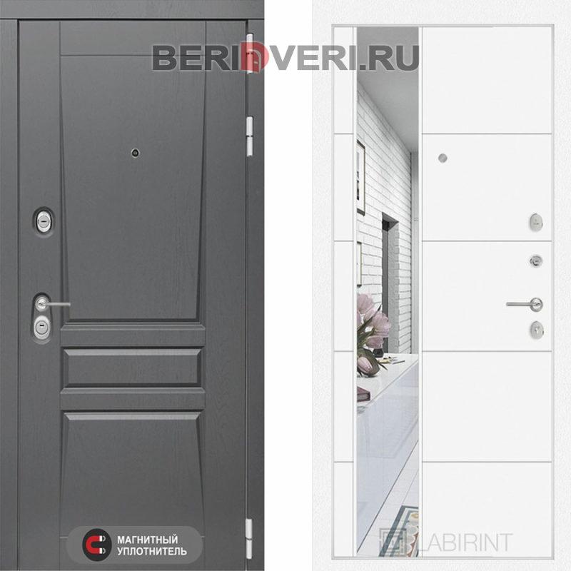 Металлическая дверь Лабиринт Платинум 19 Зеркало Белый софт