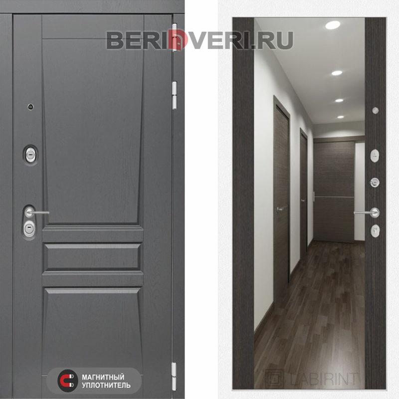 Металлическая дверь Лабиринт Платинум Зеркало максимум Венге