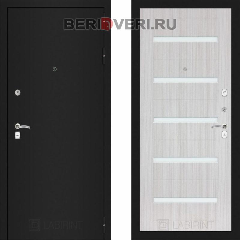 Металлическая дверь Лабиринт CLASSIC Шагрень черная 01 Сандал белый