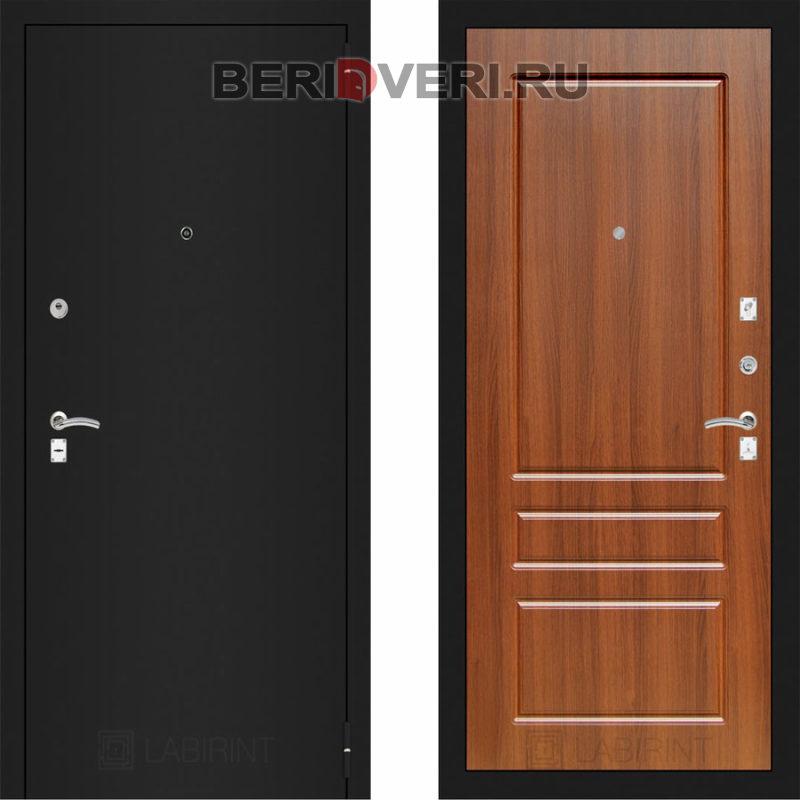 Металлическая дверь Лабиринт CLASSIC Шагрень черная 03 Орех бренди