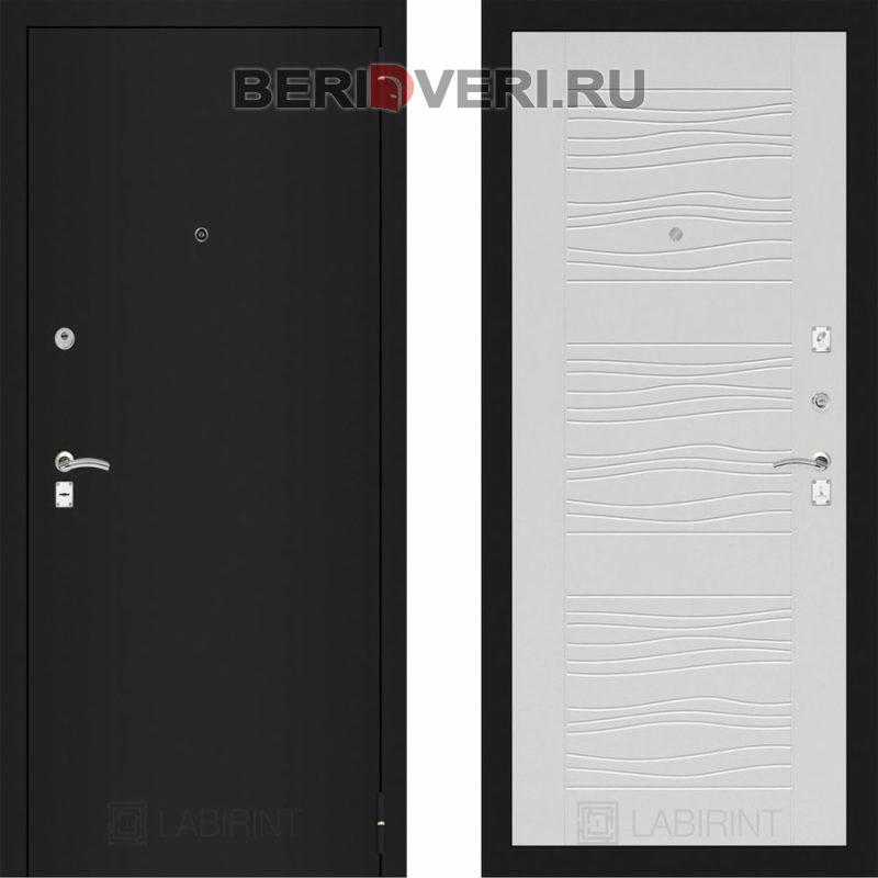 Металлическая дверь Лабиринт CLASSIC Шагрень черная 06 Белое дерево