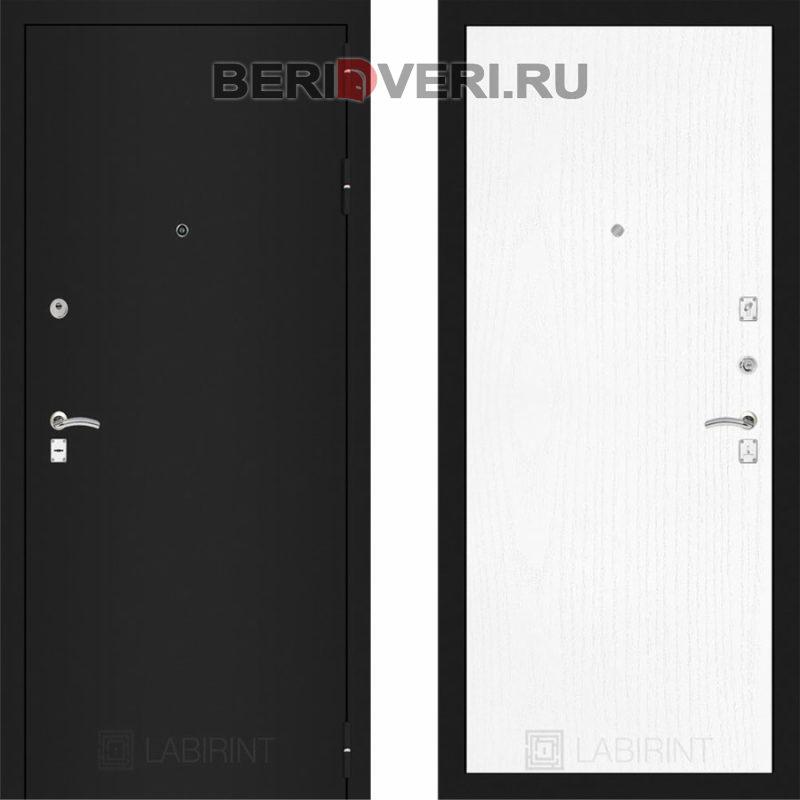 Металлическая дверь Лабиринт CLASSIC Шагрень черная 07 Белое дерево