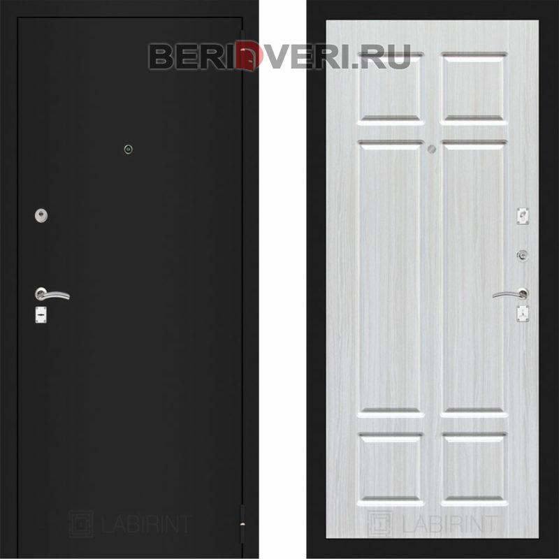 Металлическая дверь Лабиринт CLASSIC Шагрень черная 08 Кристалл вуд